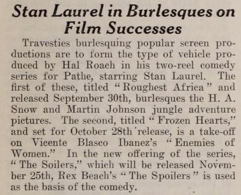 Stan Laurel in Burlesques on Film Successes