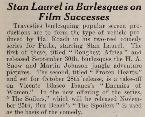 Stan Laurel in Burlesques on Film Successes
