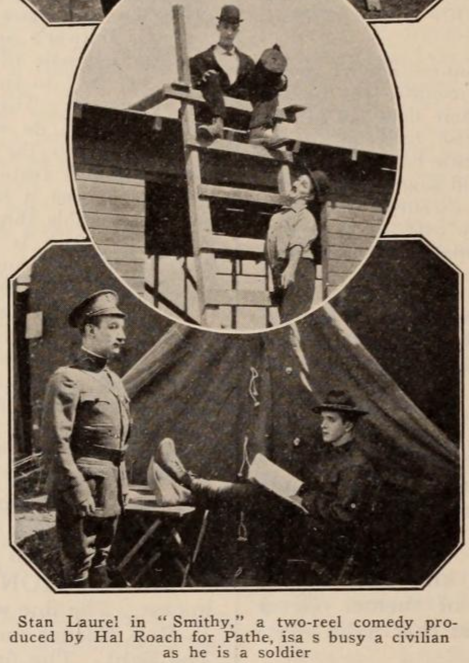 Stan Laurel and James Finlayson in scenes from SMITHY (1924)