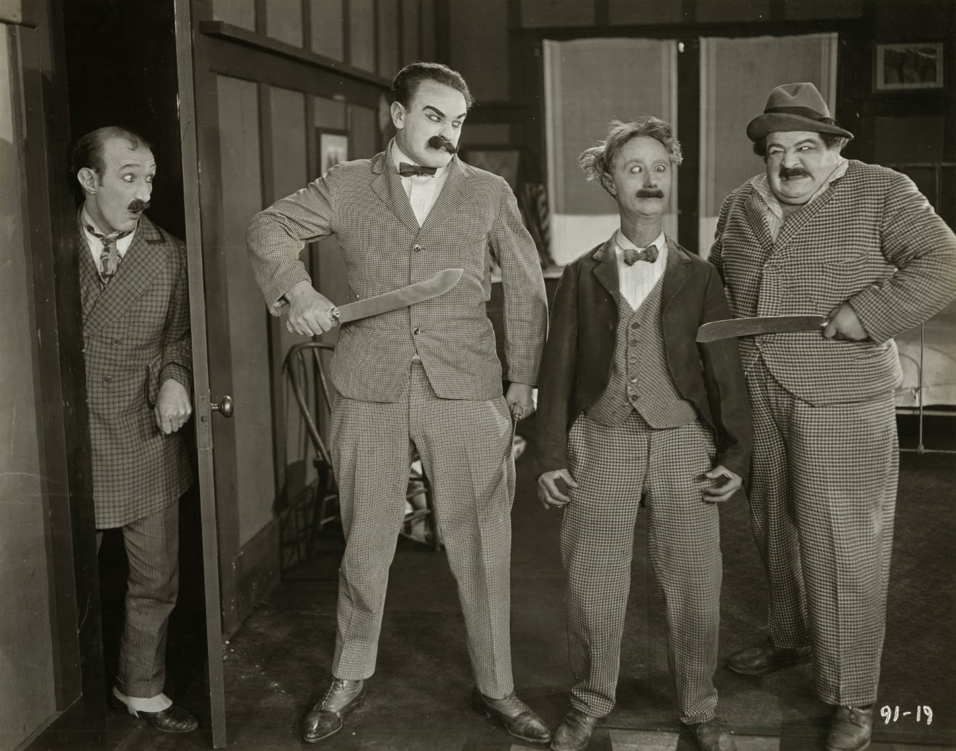 Still from HOME TALENT (1921) with James Finlayson, Eddie Gribbon, Ben Turpin and Kalla Pasha