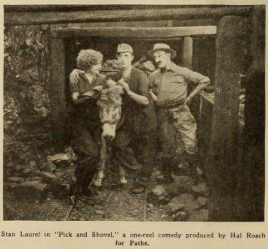 Katherine Grant, Stan Laurel and James Finlayson in a publicity shot for PICK AND SHOVEL (1923)